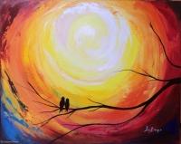 Radiant Sun and Love Birds